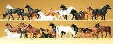 Preiser 14407 Pferde - 26 Figuren für Spur -H0-1:87