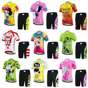 Boys Girls Cycling Jersey and Shorts Padded Set Unisex Kids Cycle Clothing Kit