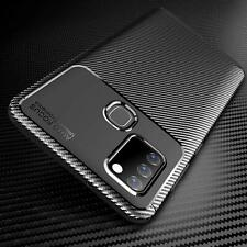 For Samsung Galaxy A21s Case Carbon Fibre Shockproof Phone Cover + Screen Guard