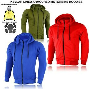 Motorcycle CE Protection Mesh Lined Made with Kevlar Fleece Hoodie Men's Unisex