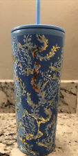 Lilly Pulitzer Blue/Gold Insulated Tumbler Turtley Awesome 24 oz Reusable Straw