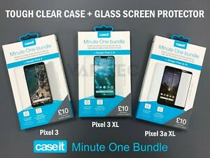 Case It Google Pixel 3 / 3 XL / 3a XL Clear Case Cover + Glass Screen Protector