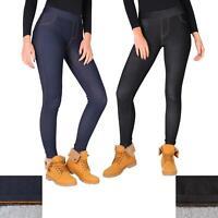 Womens Warm Fleece Lined Stretch Denim Jeggings Jeans Thermal Leggings