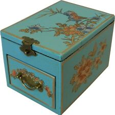 Blue Jewellery Box with Stand up  Mirror - Asian Traditional (MB-S1LU-FL)