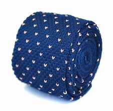 Knitted Skinny Navy Blue & Pink Pin Spot Mens Tie by Frederick Thomas FT1856