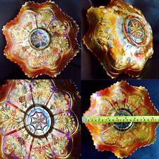 "Rare Colour & Design Antique 9""/23cm Wide Fenton Carnival Glass Serving Bowl"