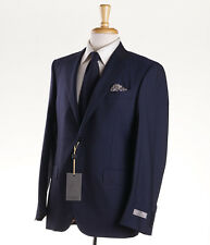 NWT $1895 CANALI 1934 Solid Navy Blue Lightweight Wool Suit 40 S Modern-Fit