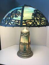 American Slag Glass Lamp,Art Nouveau Floral Patterns,circa 1905,6 Panel,22� Tall
