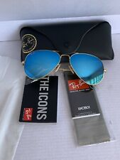Ray Ban Rb3025 Gold Aviator Blue Mirror Lens 58mm Final SALE💥
