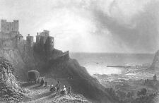 Kent, Medieval Fortress DOVER CASTLE White Cliffs ~ Old 1840 Art Print Engraving
