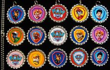 15 Paw Patrol Flat Silver Bottle Cap Necklaces Set 1