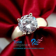 18k yellow gold GF solid engagement wedding ring made with swarovski crystal