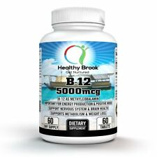 Healthy Brook Vitamin B12 5000 mcg Methylcobalamin 60t WEIGHT LOSS BRAIN ENERGY