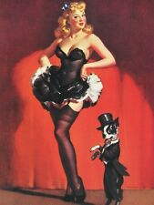 "Elvgren Pinup Girl Art Old Style ""Lucky Dog"" Blonde & Boston Terrier Steal Show!"
