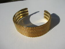 VINTAGE CHIC SHINY YELLOW GOLD TONE METAL MESH SOLDERED CHAIN CUFF BRACELET