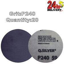 "Mirka Q.Silver 77mm (3"") P240 Grit 20x Plain HookNLoop Sanding Discs"