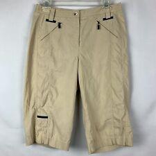 Jamie Sadock Capri Golf Pants Size 6 Tan Zip Pocket