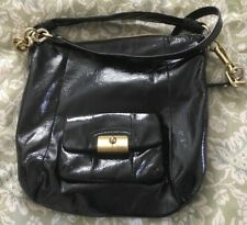 COACH Black Patent Leather KRISTIN Convertible Hobo Handbag Purse Bag-16013