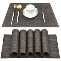 Set of 6 Weaves Placemats,Brown Placemat Stain Resistant AntiSkid TableMat