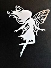 5 x white/gold/silver large, flying fairies,card toppers,fantasy,die cut