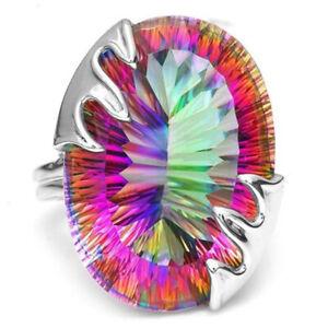 Mystic Topaz Rainbow 925 Silver Gemstone Rings Women Wedding Jewelry Size6-10