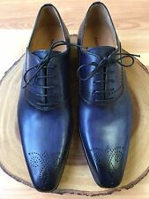 Magnanni Alante Medallion Toe Oxford Blue Leather Men's Shoes Size 10 M *