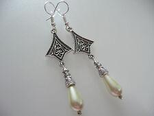 Vintage Art Deco Style Teardrop Glass Pearl Long Earrings Prom Boho Bridal