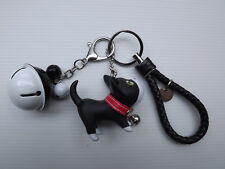 Porte clé - Bijoux de sac - Rétro voiture - Chien + clochette Noir et blanc Neuf