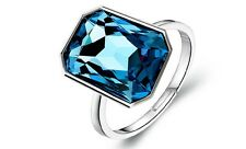 Diamond Shine Crystal Silver and Ink Dark Blue Adjustable Ring FR132