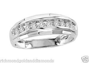 size 9  Mens Wedding Anniversary Diamonds Ring Band 10k White Gold chennel set