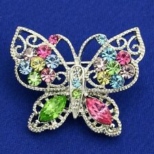 Butterfly W Swarovski Crystal Brooch Multi Color Charm Pin Jewelry Gift