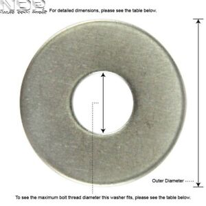 A2 Stainless Steel Penny/Repair/Mudguard Washers - *ALL SIZES*
