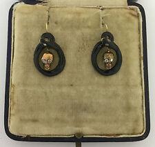 An Unusual Pair Of Memento Mori Skull & Snake Diamond & Enamel Earrings Cr 1800s