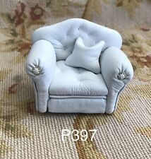 Pat Tyler Dollhouse Miniature White Leather Club Chair W/Pillow p397