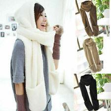 3 in 1 Girls Winter Warm Plush Long Hooded Hat Cap Hooded Scarves Gloves Gift