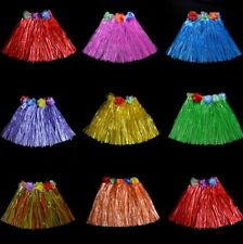 Kids Hawaiian Hula Grass Skirt Beach Dress Lei Flower Headband Girls Costume  UK