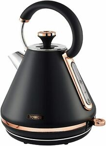 Tower T10044RG Cavaletto 1.7 Litre Pyramid Kettle, S/Steel, Black & Rose Gold