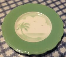 "1958 Vintage Syracuse China 11"" Plate Airbrushed Palm Tree Ocean Seagulls Green"