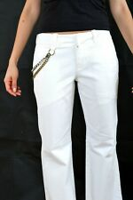BNWT FORNARINA LADIES JEANS Cream Bootcut Hippies Chains Stretch Pants W28 Uk10