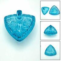 "Vintage Hazel Atlas Pinwheel Star Candy Dish Lid 7"" Triangle Tri Corner Blue"