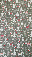 100% COTTON - GREY REINDEER & CHRISTMAS TREES Fabric Xmas Material Metre