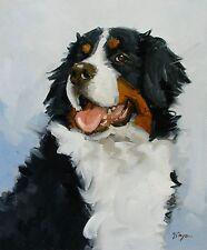 Pintura al óleo originales-Retrato de un Bernese Mountain Dog-por J Payne