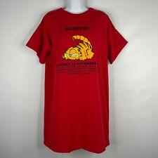 Vintage 1978 Garfield Scorpio Zodiac Birthday Graphic Red Sleep Shirt Size XL