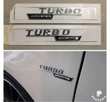 New 2x Mercedes-Benz  AMG Turbo Badge Emblem Decals Chrome Uk 🇬🇧