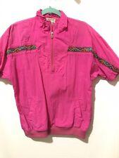 Vtg Womens Lavon Windbreaker Pink Shirt Pullover Medium Pockets Windbreaker