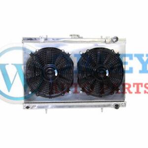 3ROW aluminum RADIATOR & shroud & fan FOR NISSAN SKYLINE S13 CA18 R32 RB20
