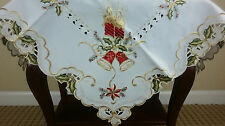 "White Fabric Embroidered Christmas Red Poinsettia 36"" Square Tablecloth Tablet"