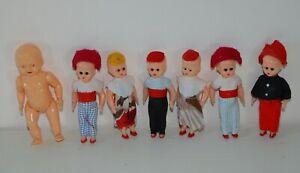 Lot de 7 mini poupée et poupon Française anciennes type celluloide yeux dormeurs