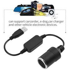 USB Male To 12V Car Cigarette Lighter Female Socket Converter Adapter Cable Cord