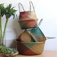 Handmade Foldable Seagrass Belly Storage Straw Basket for Flower Pot Planter